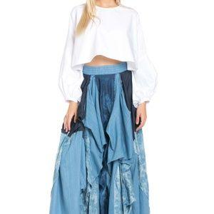 TOV Blue Denim Damsel Maxi Floor Length Skirt